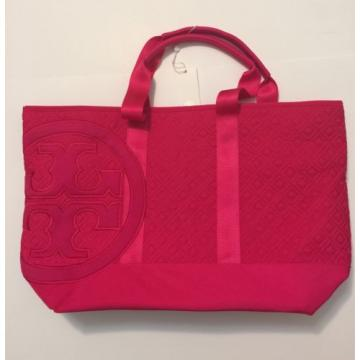 NEW Auth Tory Burch LARGE Marion Quilted Nylon beach Tote Shoulder Bag hot Pink