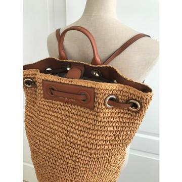 201e35b32a2019 Michael Kors Natural Paper Straw Leather Krissy Large Backpack Tote Bag NWT  ...