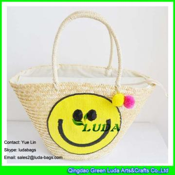 LDMC-063 large  summer beach tassel tote bag sequins smile face straw bag
