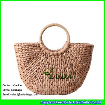 LDYP-027 plain hobo  tote bags handwoven high quality corn husk beach straw bags in summer