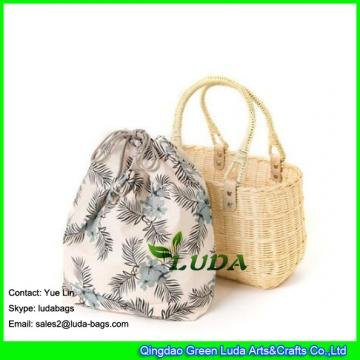 LDTT-025 2018 new designer wicker bag natural rattan straw bags with separated inside package bag