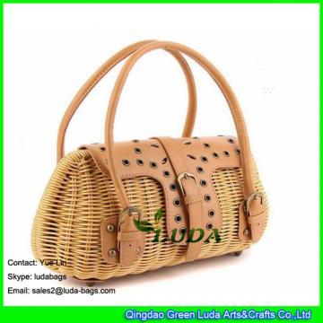 LDTT-009 2018 new designer rattan handbag lady handmade straw rattan bag