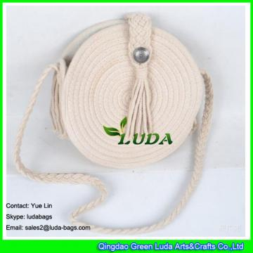 LDMX-030 Round sling handbag white cotton rope braided macrame shoulder bag for summer 2018