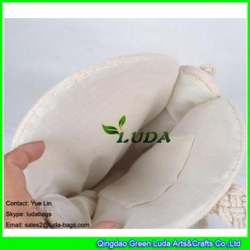 LDMX-030 Round sling handbag white cotton rope braided macrame shoulder bag for summer 2018