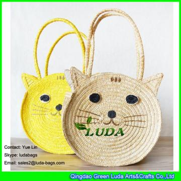 LDMC-027 cute cat shoulder straw bags for kids
