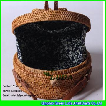 LDTT-037 Fashion natural ata bag hand woven round women beach straw bali bag