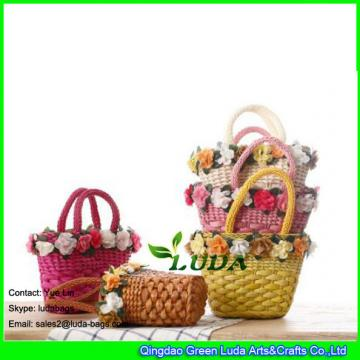 LDYP-002 classical small straw bag colorful floral handbag for kids