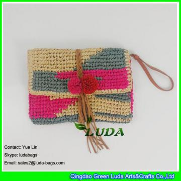 LDZS-012 color block women purse hand crochet  clutch summer paper straw handbag