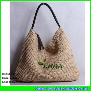LDLF-016 classical women hobo bag handmade natural raffia straw tote bag