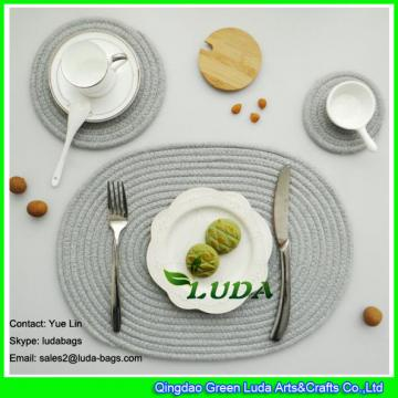 LDTM-052 dark grey  round cup mat and oval cotton braided table mat