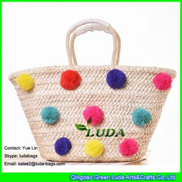 LDYP-032 colorful pom poms summer straw bag large size beach straw tote bag