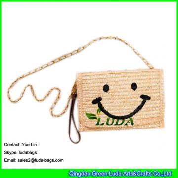 LDMC-123  classical embroidery women's clutch bag cute smile face straw shoulder bag fashion beach clutch bags