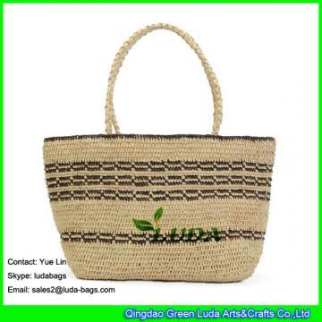 LDLF-091 new designer raffia totes hand crochetting beach raffia straw bags