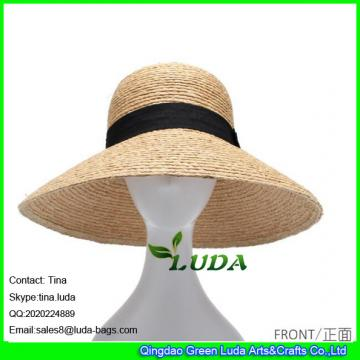 LDMZ-052  wholesale women beach hats large raffia fedora hats