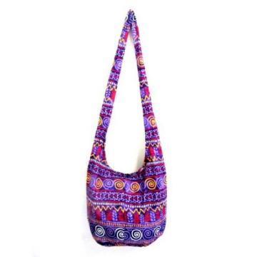 BAG SLING ADVENTURE YOGA BEACH HOBO HIPPIE CROSSBODY TRAVEL LARGE SPIRAL PURPLE