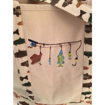 LARGE FISHING CANVAS beach cotton LAKE tote bag EMBROIDERED GREEN OUTDOORS NEW