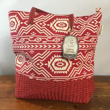 New SUN N SAND LARGE Beach summer TOTE CRUISE purse  BAG Aztec Red