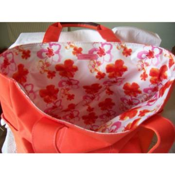 Lancome Purse Tote/Shopping Summer/Beach Bag Ladies Orange polyester Canvas
