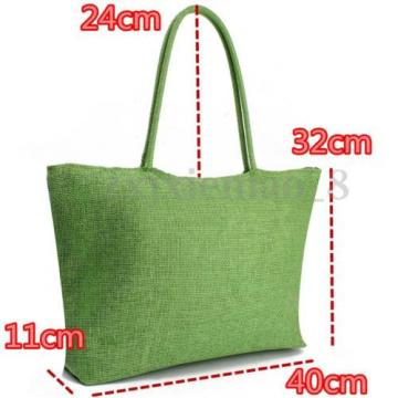 US Women Summer Straw Weave Shoulder Lady Beach Purse Handbag Tote Shopping Bag