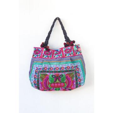 Blue Orchids Beach Tote Bag with Thai Hmong Embroidered Fabric Large Size