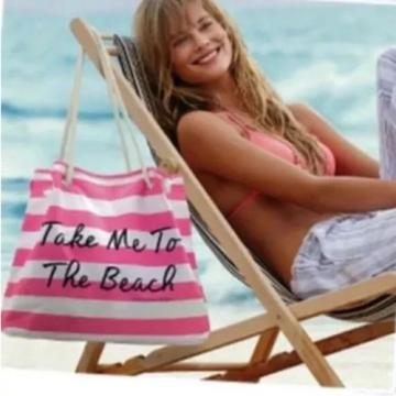 NWT New Victoria's Secret Pink Big Take Me to the Beach Large Canvas Tote Bag