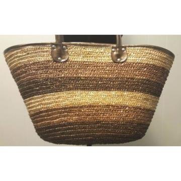 Straw Stripe Beach Shoulder Tote Purse Bag ~ Brown & Natural ~ Bronze Handles