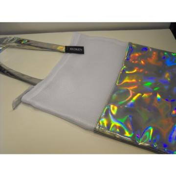 NEW ~ HOLOGRAPHIC Redken Mesh TOTE ~ Metallic RAINBOW Festival Beach Bag Purse