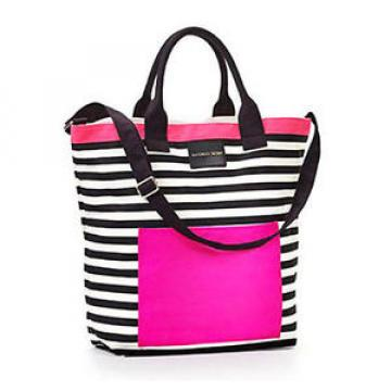 NWT VICTORIA'S SECRET PINK BLACK & WHITE STRIPED LARGE TOTE BAG BEACH 2016 CUTE
