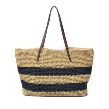 New Women Black Strips Straw Woven Beach Tote Shoulder Bag Handbag