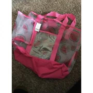 NWT! Pink Watermelon Mesh Plastic Beach Bag