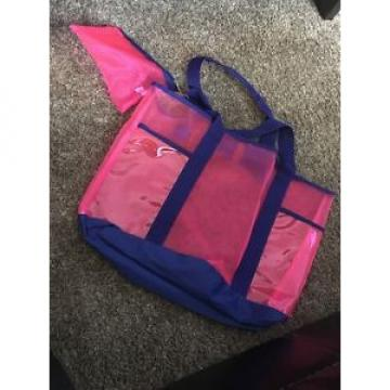 NWT! Blue Pink Plastic Mesh Beach Bag
