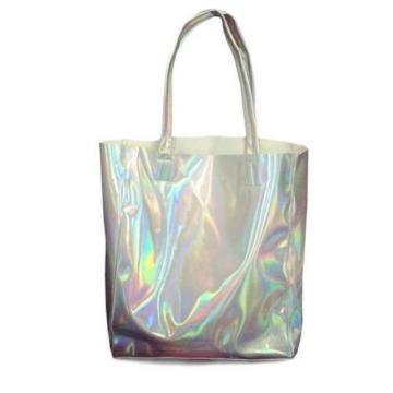 Holographic Women Handbag Laser Silver Hologram Shoulder Bag Big Beach Purse New