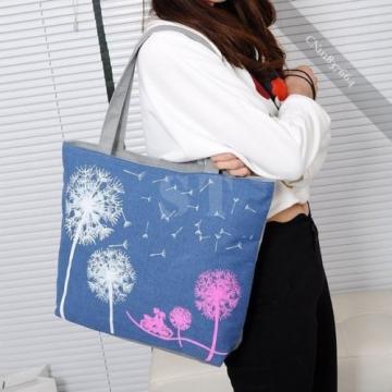 Women Girls Shoulder Bag Print  Zipper Closure Shopping Beach Tote Bag