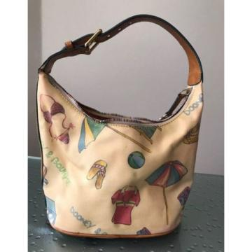 VINTAGE DOONEY & BOURKE Yellow LEATHER Beach Theme Heart CHARM Hobo PURSE BAG