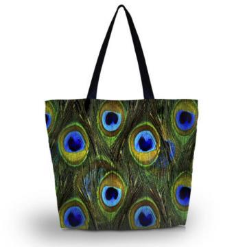 Peacock Soft Women's Shopping Bag Foldable Tote Shoulder Bag Beach Handbag