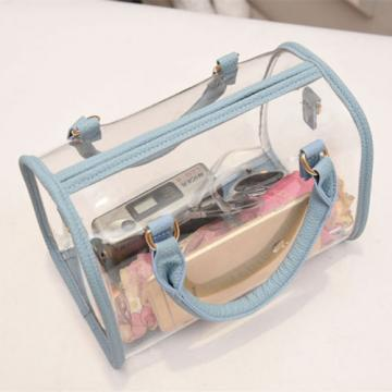 2-pieces Women Jelly Beach Bag Shoulder Handbag Transparent Messenger Bag Wallet