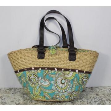 Womens Vera Bradley Authentic Large Straw Peacock Beach Bag Tote Handbag Purse