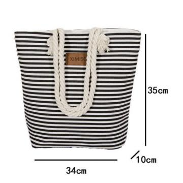 Beach Bags Leisure Summer Canvas Shopper Shoulder Bag Striped Big Capacity New