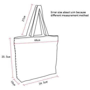 Lady Women's Large Capacity Zipper Handbag Shopping Bag Tote Shoulder Beach Bags