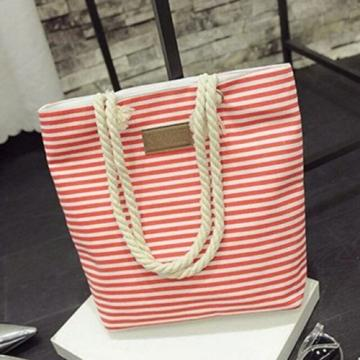 Canvas Shopper Bag Striped Prints Beach Bags Tote Women Ladies Shoulder Bag