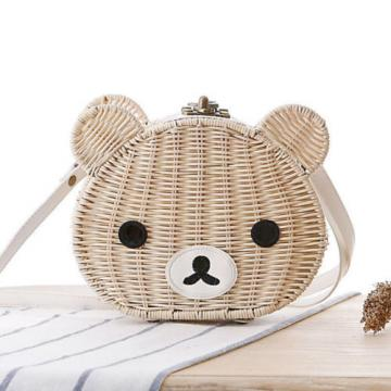 2016 New Fashion Women Summer Cute Brown Bear Straw Bag Beach Tote Bag Handbag