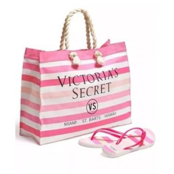 Victoria's Secret Pink & White Beach Tote Bag & Flip Flops Set Size 9-10 (Large)