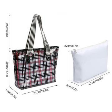 Lady's Semi-clear Check Pattern Handbag PVC Beach Shoulder Bag & Cosmetic Bag