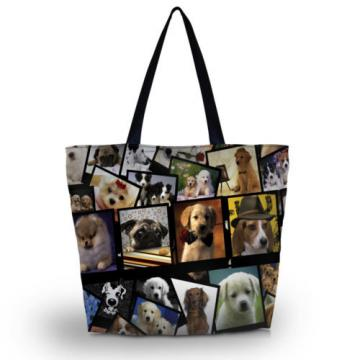 Dogs Shopping Tote Beach Travel School Shoulder Zipper Bag Women Hobo Handbag