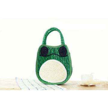 Women Straw Weave Green Frog Tote Purse Handmade Clutch Beach Bag Handbag New