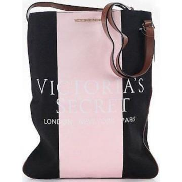 Victoria  Secret PINK Black Tote Bag Leather Strap Canvas Travel Gym Beach Bag