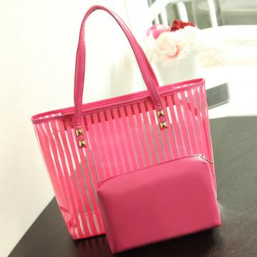 Fashion Women Jelly Clear Transparent Handbag Stripe Tote Beach Shoulder Bags