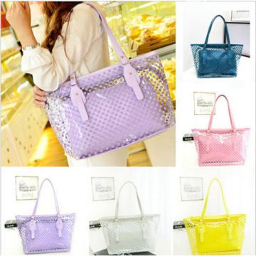 Fashion Women  Plastic Transparent Beach Shoulder Bags Tote Jelly Handbag
