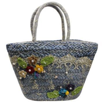 Women Summer Beach Straw Lace Beads Shopping Purse Tote Shoulder Bag Handbag