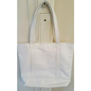 Stella Grey Addison White Ostrich Vegan LG Purse/Tote/Carry-On/Beach Bag NWT $72